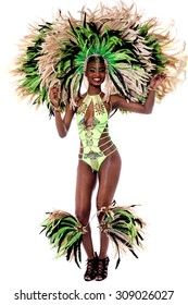 Image of a samba woman isolated over white