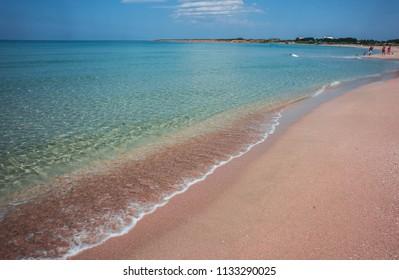 Image of sandy beach in Olenivka (Crimean Maldives) in the Crimea, Russia