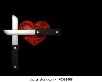 Image scarlet heart and two crossed knives on a black background. 3d illustration.