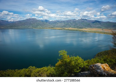 Image of a scenic view of the mountains and Lake Prespa, Greece