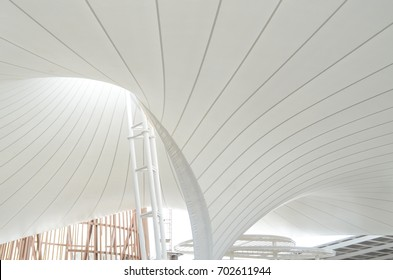 An image of seam line of tensioned fabric structure - Shutterstock ID 702611944