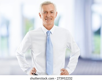 Image of senior broker standing at office while looking at camera and smiling. Business people.