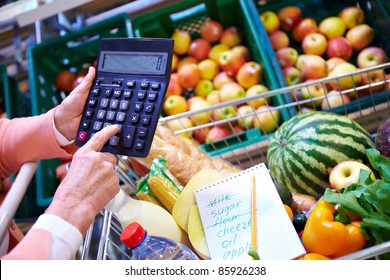 Image of senior woman hand touching buttons of calculator with goods in cart near by