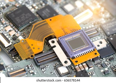 Image sensor for digital camera on electronic circuit board.