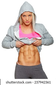 Image of serious woman with cool abs