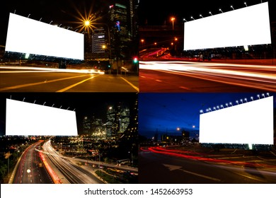 image set of billboard blank for outdoor advertising poster at night time with street light line for advertisement street city night light concept.