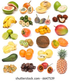 image set of fresh ripe exotic fruits on white background