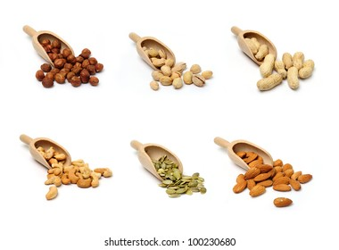 An image of a set of nuts in wooden scoops