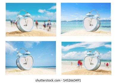 image set of old retro clock on sand beach ,Image for summer vacation concept.