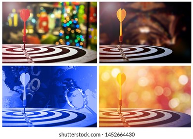 Image set of target dart with arrow over blurred  background ,metaphor to target marketing concept.