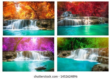 Image set of  waterfall  in tropical forest, Thailand