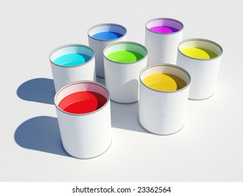 Image of seven pots of paint showing the colors of a rainbow