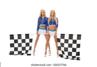 Image of sexy young blondes posing as race girls