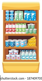 Image shelves with dairy products at the supermarket. Raster illustration.