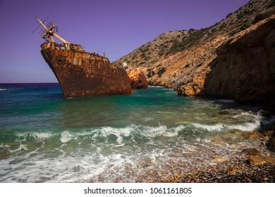 Image of Shipwreck on Amorgos island, Cyclades, Greece