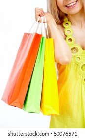Image of shopper with plastic bags in isolation