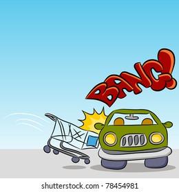 An image of a shopping cart damaging a car.