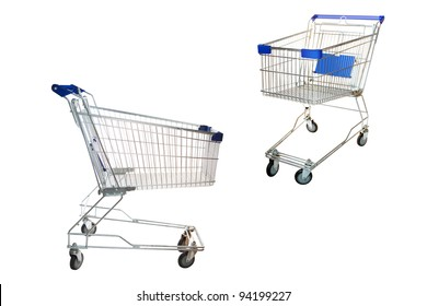 The image of shopping trolleys under the white background