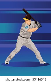 An image showing a baseball player holding a bat and ready to strike a baseball