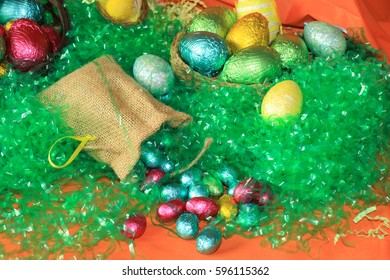 An image showing the concept of Easter with a selection of colorful eggs