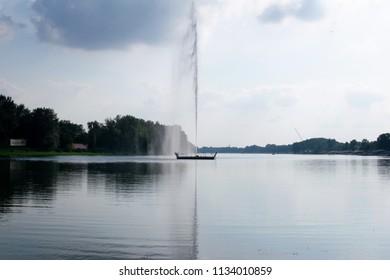 Image shows the Ada lake located at Belgrade-Serbia.