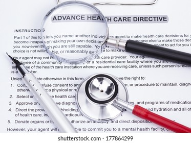 Image shows an advanced directive, stethoscope, magnifier and a pencil
