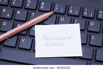 Image shows a computer keyboard wit a password notice
