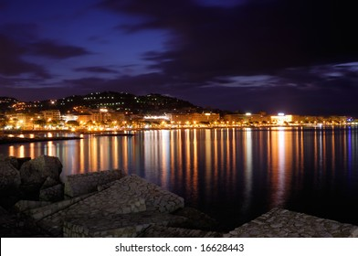 Image shows the cosmopolitan city of Cannes, in the French Riviera, shot right before dawn