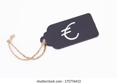 Image shows a Euro price tag isolated on white background