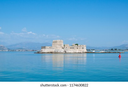 Image shows the famous old Venetian castle named Bourtzi,near the city of Nafplion- Greece.
