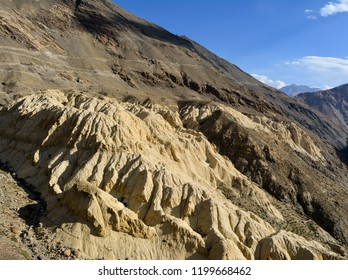 The image shows the hills in Spiti Valley in Himachal Pradesh that have a soil formation resembling that on the surface of Moon.
