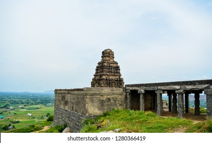 The image shows one of the Hindu temples located inside the premises of Gingee/ Senji Fort in Tamil Nadu, India. The image was captured in October 2017.