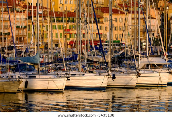 Image shows sailing boats at the Vieux port, in the city of Cannes, southern France