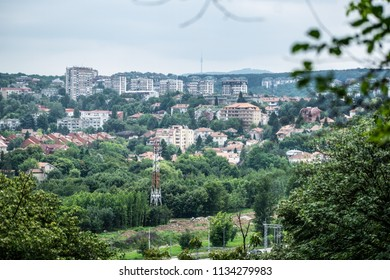 Image shows a suburb of Belgrade shot from the Kosutnjak forest.