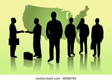 Image of a silhouettes of business men on a green background with the map of North America.