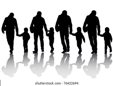 image of silhouettes of father and son
