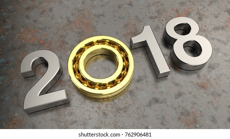 Image of silver date 2017 amid an aging rusty metal, Golden ball bearing, the idea for the calendar, the symbol of the movement of time, idea of strength and quality. 3D rendering