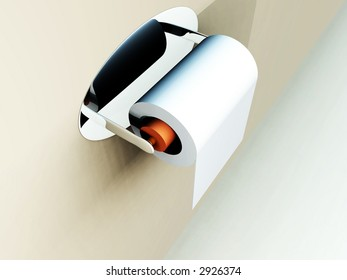 A image of a simple loo roll on its holder.