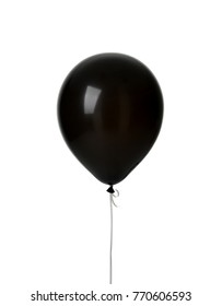 Image of Single big black latex balloon for birthday isolated on a white background