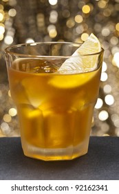 A image of a single Rusty Nail Cocktail