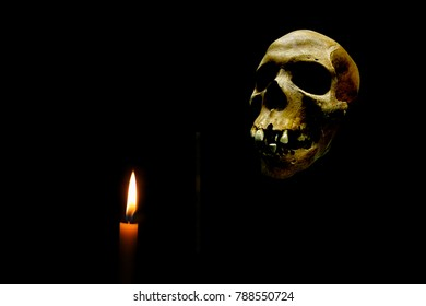 The image of skull with a candle