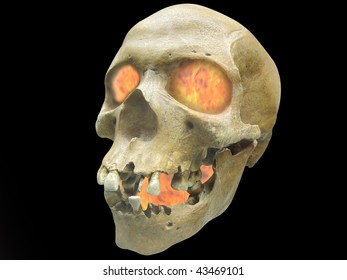 """The image of skull with infernal fire in it""""s eyes. Focus is under the front part of foto"""