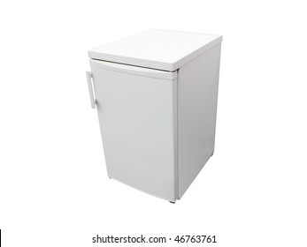 Image of the small dark grey refrigerator under the white background