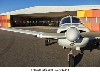 Image of small private airplanes waiting for take off