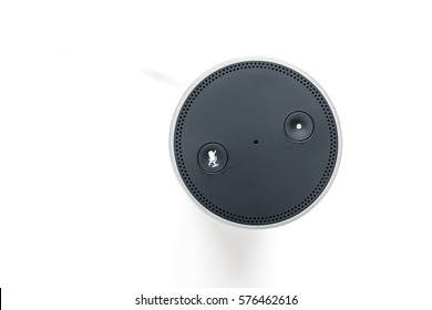 An image of a smart home device with voice assistant
