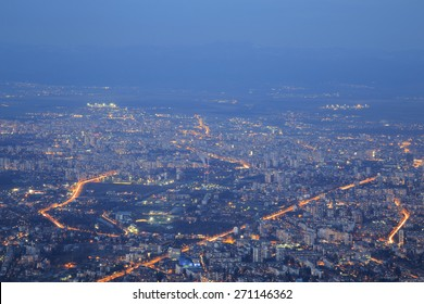Image of Sofia city from high at dusk, Bulgaria.