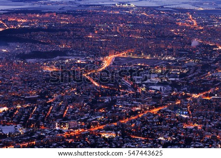 Foto Stock A Tema Image Sofia City High Dusk Bulgaria Modifica Ora
