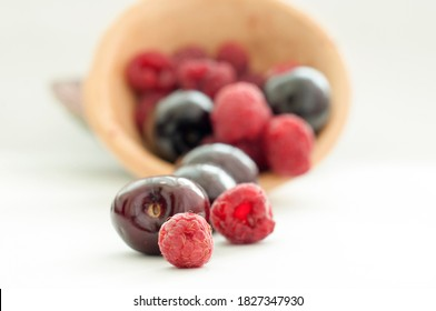 image of soft fruit cherries and raspberries