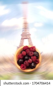 image of soft fruit with paris as background