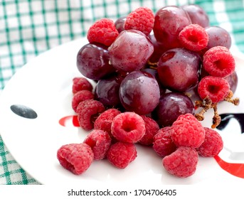 Image of soft fruit, strawberries and grapes